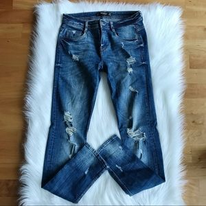 Zara Skinny Distressed Blue Jeans with rips